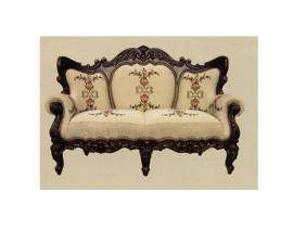 canapea 2 locuri regal nuc stofa goblen