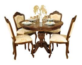 masa rotunda cu scaune regal nuc
